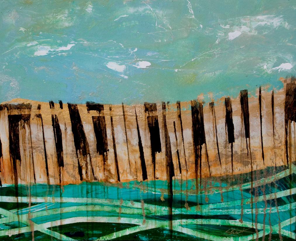 Abstract art ocean piano music