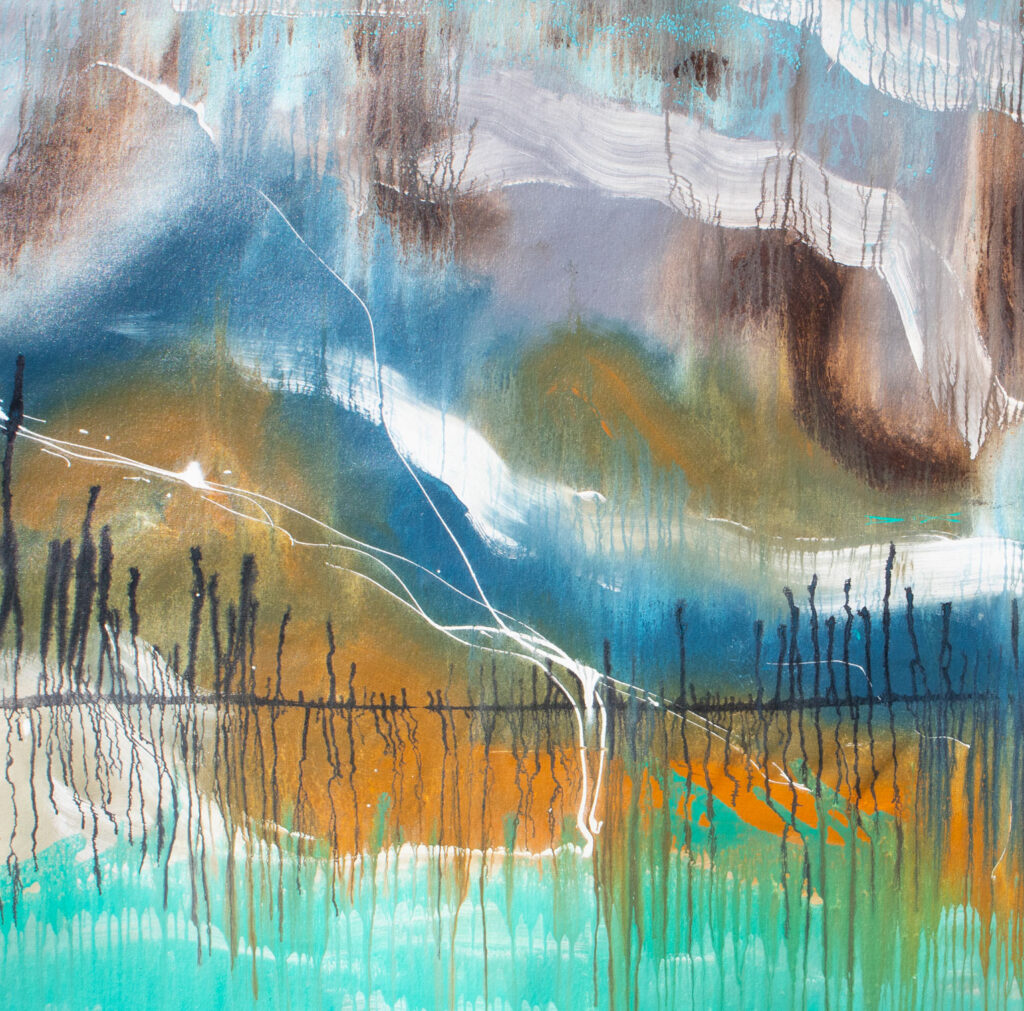 Abstract artwork, mountains snow peaks lake