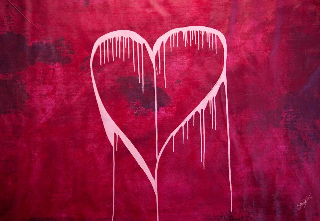 love heart pink magenta abstract art dix Steven
