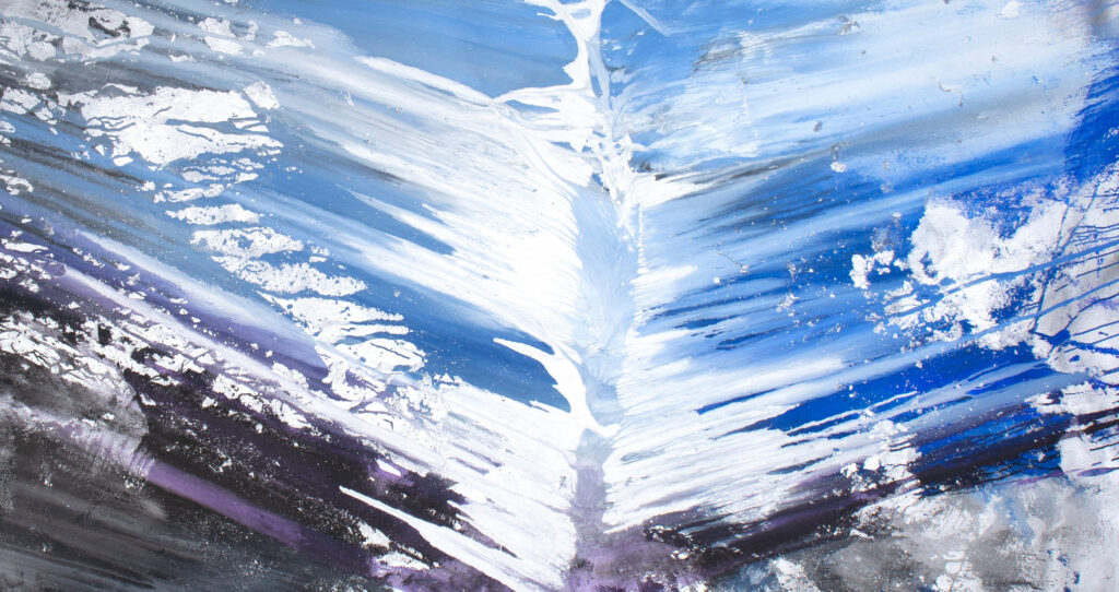 blue, silver, flowing abstract art