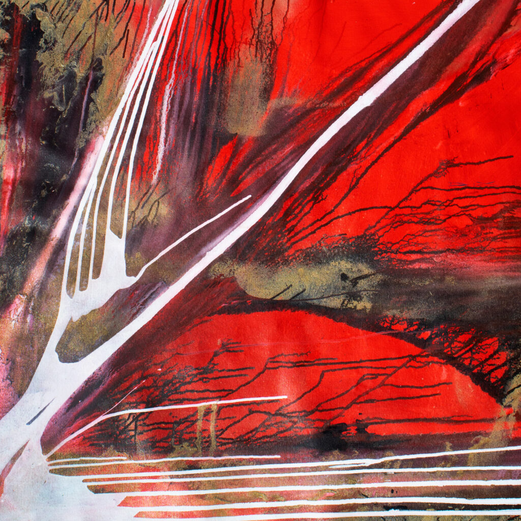 red, asian, abstract artwork